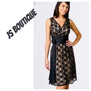 NWOT JS Boutique Black Lace Cocktail Dress. Sz 12